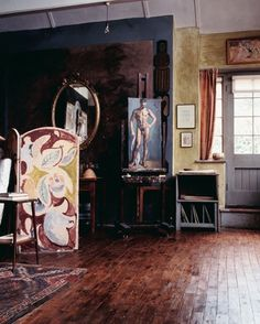 the studio at Charleston, the country home of the Bloomsbury group,,, Vanessa Bell and Duncan Grant's decorative style