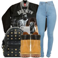 A fashion look from September 2014 featuring Timberland ankle booties, MCM backpacks and 14th & Union necklaces. Browse and shop related looks.
