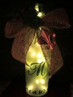 Recycled Wine Bottle Decor - Etched Wine bottle with lights