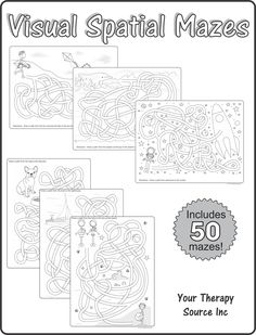Visual Spatial Mazes from Your Therapy Source. Pinned by SOS Inc. Resources. Follow all our boards at pinterest.com/sostherapy/ for therapy resources.