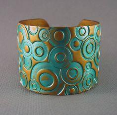 Cuff Bracelet Polymer Clay Jewelry Handmade Jewelry Geometric Pattern Gold Cuff Clay Jewelry