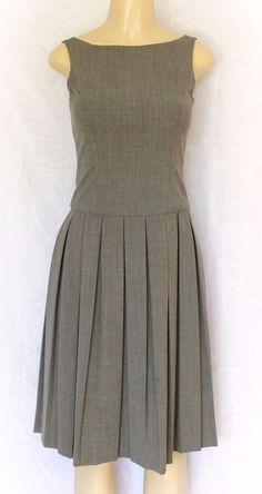 EUC LAUNDRY by Shelli Segal Dress Work Pleated Sleeveless Gray Knee Length 02 XS #LaundrybyShelliSegal #pleated #WeartoWork