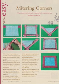 miter corners on quilt border Quilting For Beginners, Quilting Tips, Hand Quilting, Machine Quilting, Beginner Quilting, Quilting Projects, Sewing Mitered Corners, Quilt Corners, Sewing Basics