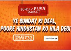Shopclues Sunday Flea Market Sale Offer : Get upto 90% off + 20% Oxigen wallet Cashback - Best Online Offer