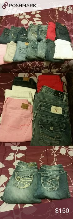 Denim American eagle, silver jeans, rue 21, aero 14 pairs of assorted style and brand jeans. 6 pairs of ae skinny jeans, 1 pair is Capri with flap pockets( 2nd pic) 2 pairs of silver jeans, both flare (3rd pic) 3 pairs of aeropostale jeans, 1 skinny, 2 Capri  ( left of 4th pic) 2 pair of rue 21 skinnies ( 4th pic top 2 right) and a pair of light gray bullhead skinnies. All in good condition, the white pair of white ae pants has a black pen mark and small stain in crotch area (not seen on…