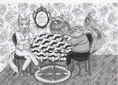 animals around the table / drawing