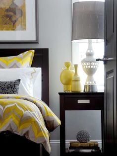 Yellow And Gray Bedroom - Design photos, ideas and inspiration. Amazing gallery of interior design and decorating ideas of Yellow And Gray Bedroom in bedrooms, dens/libraries/offices, girl's rooms, boy's rooms by elite interior designers. Gray Bedroom Walls, Grey Walls, Home Bedroom, Bedroom Decor, Bedroom Ideas, Master Bedroom, Bedroom Designs, Bedroom Furniture, Bedroom Lamps