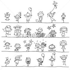 Enfants Heureux DE Dessin Cartoon Jouant DE LA Main image vectorielle - Clipart.me