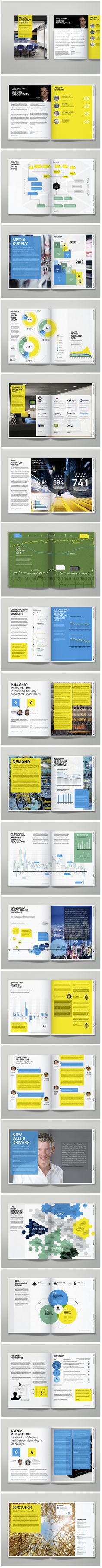 Editorial- and Information-Design for the first Media Economy Report for IPG Mediabrands and their strategic global media unit MagnaGlobal.Informed by the global resources of IPG MEDIABRANDS, this inaugural Media Economy Report contains an overview of t… Editorial Design Layouts, Graphic Design Layouts, Graphic Design Inspiration, Layout Design, Design Brochure, Booklet Design, Brochure Layout, Web Design, Print Design