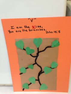 Lesson 6 Jesus is the Vine - We are the Branches/Jesus Prays year olds; year olds; Bible Study Crafts, Bible School Crafts, Bible Crafts For Kids, Preschool Bible, Bible Activities, Preschool Activities, Church Activities, Sunday School Crafts For Kids, Crafts For 3 Year Olds