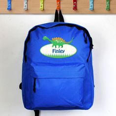 Buy Personalised Dinosaur Blue Backpack at Home Bargains New School Year, Back To School, Cool Dinosaurs, Personalized Backpack, Personalised Gifts, Dinosaur Gifts, Dinosaur Design, Designer Backpacks, Jansport Backpack