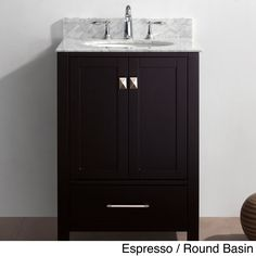 The Caroline Avenue 24-inch single-sink vanity set is equipped with two soft closing doors, one soft closing drawer, and a gorgeous Italian Carrara white marble countertop. This vanity set comes in either an espresso or white finish.