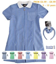 d5fec9c38cf2 Details about SCHOOL SUMMER GINGHAM DRESSES - SCHOOL WEAR UNIFORM - AGES 3  TO 13 YRS. Neformálne Oblečenie Muži