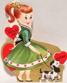 Vintage Valentine - Girl Walks Her Black & White Dog. My Funny Valentine, Valentine History, Valentine Images, Vintage Valentine Cards, Valentine Day Cards, Vintage Cards, Happy Valentines Day, Holiday Cards, Vintage Images