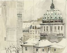 Urban Sketchers - This is probably a view of Montreal (Cathédrale Marie-Reine du Monde, with Place Ville-Marie towers behind)