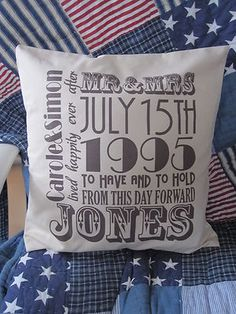 """Personalised Mr & Mrs Cushion Cover 18"""" x 18"""" - Wedding or Anniversary gift 