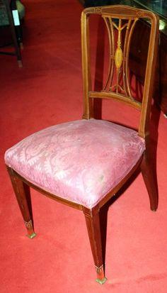 Chair, Art Nouveau, mahogany, 1890 - 89 cm x 45 cm x 47 cm (h x w x d), www. Armchairs, Sofas, Art Nouveau, Antique Furniture, Dining Chairs, Antiques, Home Decor, Tables, Wing Chairs
