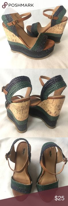 "Mossimo Espadrille Cork Wedge Sandals Super cute Mossimo Wedge Sandals. Dark Blue and Green Stitches Straps & leather ankle strap. 5.5"" heel 2"" platform. Size 8 true to size . In great condition! Feel free to ask questions or bundle to save! Thanks for shopping! Mossimo Supply Co Shoes Wedges"