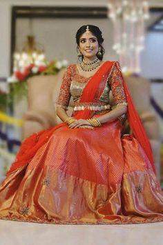 The Most Gorgeous South Indian Lehenga Saree Designs We Spotted! Half Saree Lehenga, Lehenga Saree Design, Lehenga Gown, Lehnga Dress, Pink Lehenga, Indian Lehenga, Anarkali, Brocade Lehenga, Brocade Blouse Designs
