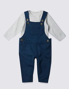 ✅ 2 Piece Pure Cotton Dungaree & Bodysuit Outfit