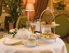 Champagne afternoon tea at the Dorchester Hotel in London, England.