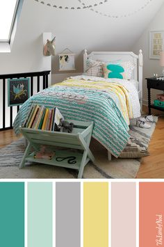 Create a tween girls bedroom with a stylish combination of pink and teal.