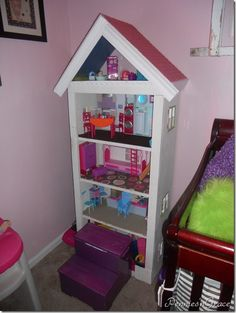 bookshelf to Barbie house
