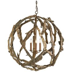 Currey and Company Driftwood Orb Chandelier 9078