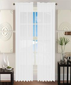Elegant ComfortR 2 Piece SHEER PANEL CURTAIN With ROD POCKET