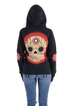 Sweet AND tough, you've got it all girl! Rock out with this adorable sugar skull hoodie by Angry Blossom!