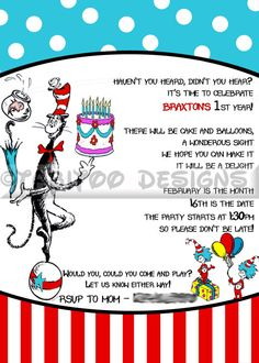 Dr. Seuss / Cat in the Hat - Birthday party invitation