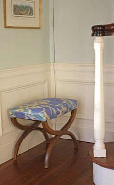 Revitalizing and old stool. Recover, not reupholster when you find the right consignment store find.