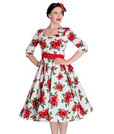 Hell Bunny 50's Eternity Floral Dress in White  Tiger Milly