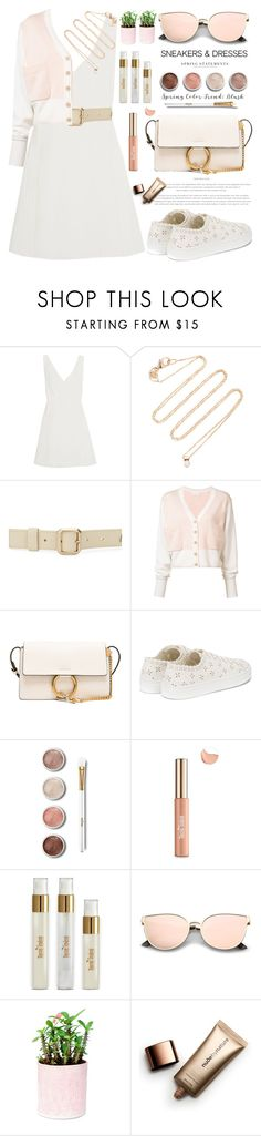 """Blush Brunch in sneakers & a dress"" by jan31 ❤ liked on Polyvore featuring Chloé, White/Space, Versace, Simone Rocha, Terre Mère, TIBI, Folio and Nude by Nature"