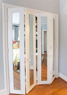 Sliding Mirror Closet Doors Home Hardware - Occasionally you don't need a conventional door. You don't have room to swing ou Mirrored Bifold Closet Doors, Mirror Closet Doors, Sliding Wardrobe Doors, Mirror Door, Closet Bedroom, Bedroom Decor, Home Depot Closet, Door Design, House Design