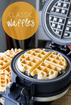 This Classic Waffle Recipe makes perfectly crisp on the outside, fluffy on the inside waffles that are to die for! - My first time making waffles on my new waffle maker. So fluffy and delicious! Go to waffle recipe! Classic Waffle Recipe, Best Waffle Recipe, Waffle Recipe With Butter, Simple Waffle Recipe No Milk, Easy Crispy Waffle Recipe, Recipe For Waffles, Waffle Batter Recipe, Making Waffles, How To Make Waffles