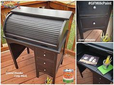 Sweet Threepeats, https://www.facebook.com/sweetthreepeats?ref=ts&fref=ts, gave this scroll top desk a dapper look with General Finishes Lamp Black Milk Paint. You can find your favorite GF products at Woodcraft, Rockler Woodworking stores or Wood Essence in Canada. You can also use your zip code to find a retailer near you at http://generalfinishes.com/where-buy#.UvASj1M3mIY.  #generalfinishes #gfmilkpaint #lampblack