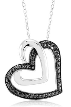 Beverly Hills Silver - 0.10 ct Diamond 18k White Gold Plated Heart Necklace IV