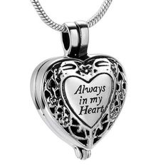 Always in my Heart Locket Urn Necklace - Cremation Necklace for Pet or Human, Memorial Jewelry, Keepsake Jewelry, Cremation Jewelry Engraved Locket, Cremation Jewelry, Cremation Ashes, Heart Locket, Locket Necklace, Discount Jewelry, Black Gift Boxes, Memorial Jewelry, Stainless Steel Chain