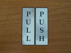 Push and Pull Front Door Sign Laser Engraved Sticker  Look Silver set  #Modern