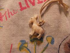 white burro celluloid charm - 1930's charm - 1940's charm - pendant - plastic - vintage charm -steampunk - altered art -jewelry - cracker