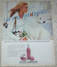 1977 ad page -Helena Rubinstein cosmetics pretty Girl & Samoyed dog PRINT ADVERT