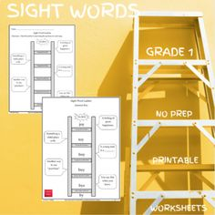Included are 15 NO PREP worksheets and/or digital worksheets that are geared for 1st Graders. While students complete the ladders, they are building their sight word vocabulary as well as strengthening their spelling skills. Students start with the word located at the bottom of the ladder. Using the...