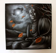 Buddha airbrush painting on canvas