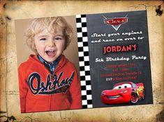 Cars Birthday Party Printables Lightning Mcqueen Etsy Ideas For 2019 Cars Birthday Invitations, Disney Invitations, Party Invitations Kids, Disney Cars Party, Disney Cars Birthday, Cars Birthday Parties, Race Car Birthday, 4th Birthday, Birthday Ideas