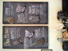 Here's some chalk board art I did for Just Love Coffee Roasters' coffee shop. It showcases the various brew methods we offer.