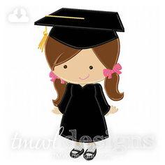 Archivo del diseño Appliqué Digital graduación Girl  5 x 7