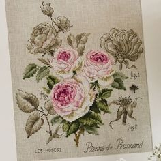 "Pierre de ronsard rose kit  This half-kit comprises the Véronique Enginger pattern chart with colours (Ref. DMC) and symbols, a 18 x 18"" 28 ..."
