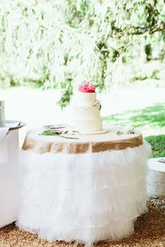 A little bit rustic, a very romantic option for cake tables & sweetheart tables. The tulle just softens this look tremendously! Available in several