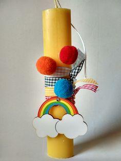 Λαμπαδα πασχαλινη αρωματικη με ουρανιο τοξο - Easter candle with rainbow #ladybygstories #handmade #eastercandle #rainbow Diy And Crafts, Crafts For Kids, Arts And Crafts, Lady Bug, Easter 2020, Candels, Happy Easter, Easter Eggs, Wax